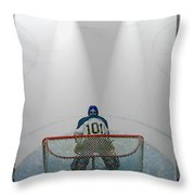 Hockey Goalie In Crease Throw Pillow