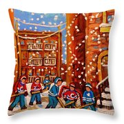 Hockey In The Laneway On Snowy Day Paintings Of Montreal Streets In Winter Carole Spandau Throw Pillow