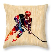 Hockey Player Throw Pillow by Marvin Blaine