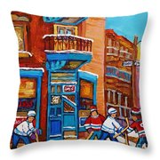 Hockey Stars At Wilensky's Diner Street Hockey Game Paintings Of Montreal Winter  Carole Spandau Throw Pillow