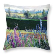 Hoeing Against The Hedge Throw Pillow