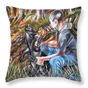 Hogdog And Hunter Throw Pillow