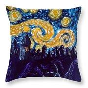Hogwarts Starry Night Throw Pillow by Jera Sky