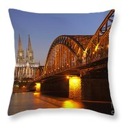 Hohenzollernbrucke In Cologne Throw Pillow