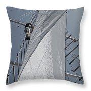Hoisting The Mainsails Throw Pillow