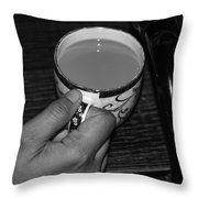 Holding A Full Cup Of Hot Tea Throw Pillow