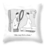 Holding A Gigantic Magnifying Glass Throw Pillow
