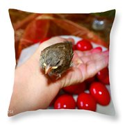 Holding A Newborn Bird Throw Pillow