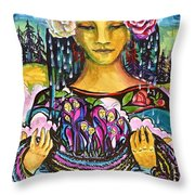 Holding Her Community Close To Her Heart  Throw Pillow