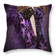 Holding Knife Throw Pillow by Amanda Elwell