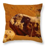 Holding The Boulder In Throw Pillow