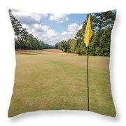 Hole Flag At A Golf Course Throw Pillow