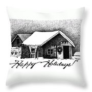 Holiday Barn Throw Pillow