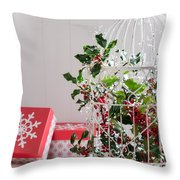 Holiday Birdcage Throw Pillow