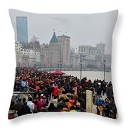 Holiday Crowds Throng The Bund In Shanghai China Throw Pillow