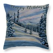 Happy Holidays - Winter Landscape Throw Pillow