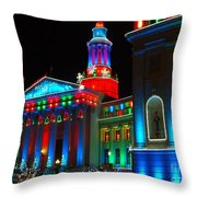 Holiday Lights 2012 Denver City And County Building A1 Throw Pillow