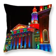 Holiday Lights 2012 Denver City And County Building B2 Throw Pillow