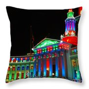 Holiday Lights 2012 Denver City And County Building C1 Throw Pillow