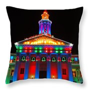 Holiday Lights 2012 Denver City And County Building D3 Throw Pillow