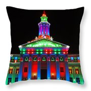 Holiday Lights 2012 Denver City And County Building G1 Throw Pillow