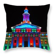 Holiday Lights 2012 Denver City And County Building G2 Throw Pillow