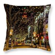 Holiday Lights In Denver Colorado Throw Pillow