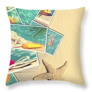 Holiday Postcards Throw Pillow by Amanda Elwell