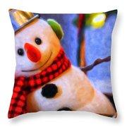 Holiday Snowman Throw Pillow