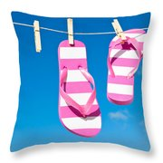 Holiday Washing Line Throw Pillow by Amanda Elwell