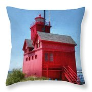 Holland Harbor And Big Red Throw Pillow