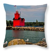 Holland Harbor Light Throw Pillow