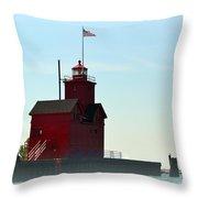 Holland Harbor Light Vignette Throw Pillow by Michelle Calkins