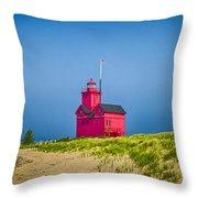 Holland Harbor Lighthouse Mi Throw Pillow