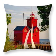 Holland Lighthouse Throw Pillow