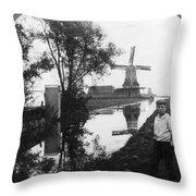 Holland Windmill, C1906 Throw Pillow