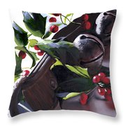Holly And Bells Throw Pillow