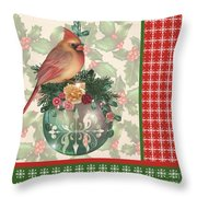 Holly And Berries-a Throw Pillow
