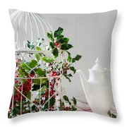 Holly And Berries Birdcage Throw Pillow by Amanda Elwell