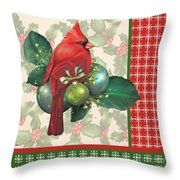 Holly And Berries-d Throw Pillow
