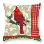 Holly And Berries-e Throw Pillow