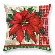 Holly And Berries-h Throw Pillow