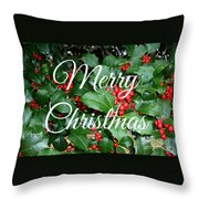 Holly Berries Merry Christmas Throw Pillow