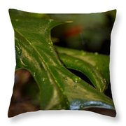 Holly Leaf Abstract Throw Pillow