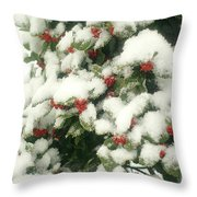 Holly Tree With Snow Throw Pillow