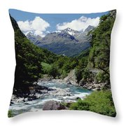 Hollyford River And The Eyre Range Throw Pillow