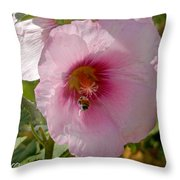 Hollyhock And Bee Throw Pillow
