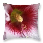 Hollyhock Flower Throw Pillow