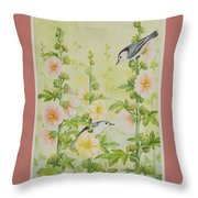 Hollyhocks And Nuthatches Throw Pillow