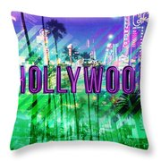 Hollywood Day And Night Throw Pillow